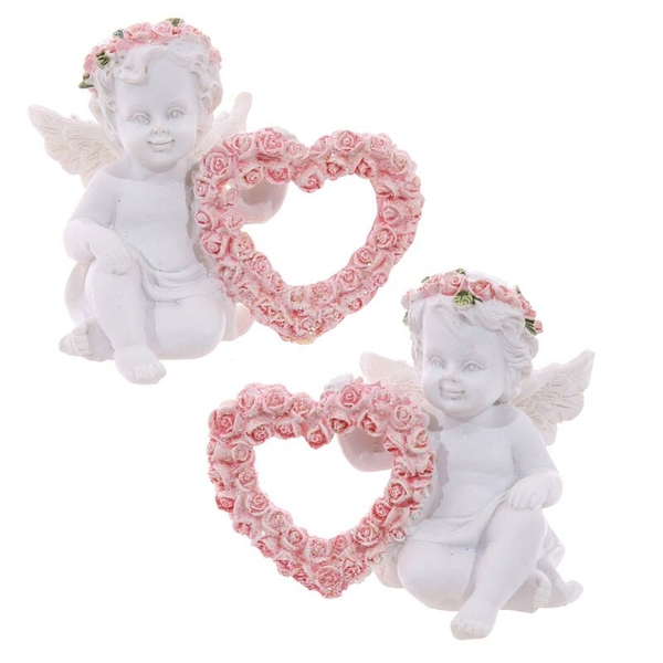 Rose Cherubs Rose Heart (Pack Of 4) Ornaments