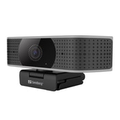 Sandberg Pro Elite 4K UHD Webcam with Noise-Reducing Stereo Mic, USB-A/USB-C, 8.3MP, 3840 x 2160, 60fps, Glass Lens, 78° Viewing Angle, 5 Year Warranty