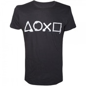 Sony Playstation Spray Painted Buttons Mens Small T-Shirt - Black