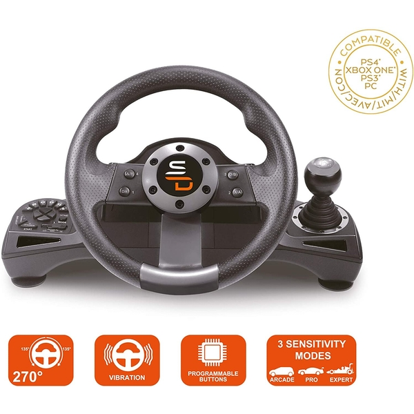 Subsonic GS700 Drive Pro Sport Wheel with Pedals and Gear Shift for PS4 & Xbox One