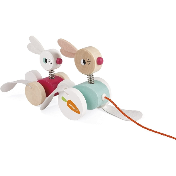 Janod Wooden Pull-Along Rabbit Family - Image 1