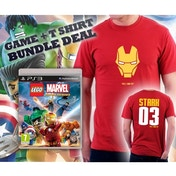 Lego Marvel Super Heroes Game + Iron Man I Can Fly Stark Double Sided Red T-Shirt Large PS3