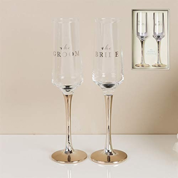 AMORE BY JULIANA? Straight Flute Set of 2 - Bride & Groom