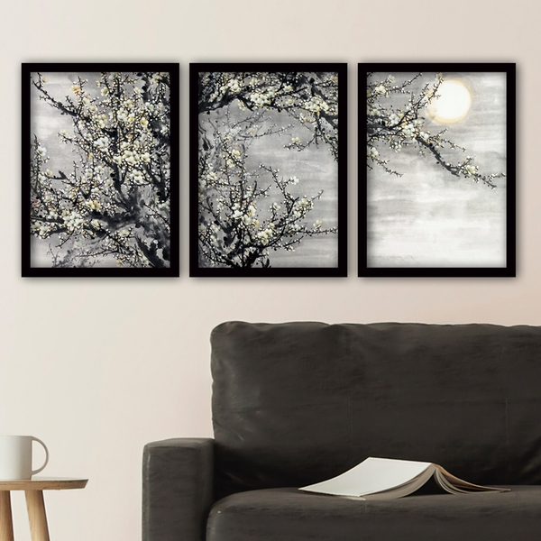 3SC118 Multicolor Decorative Framed Painting (3 Pieces)