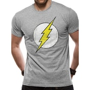 The Flash - Distressed Logo Men's XX-Large T-Shirt - Grey
