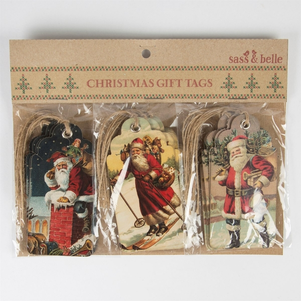 Sass & Belle Retro Vintage Father Christmas Scene Gift Tags - Set of 15