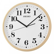 Quiet Sweep Second Hand Wall Clock Light Brown Case with White Face