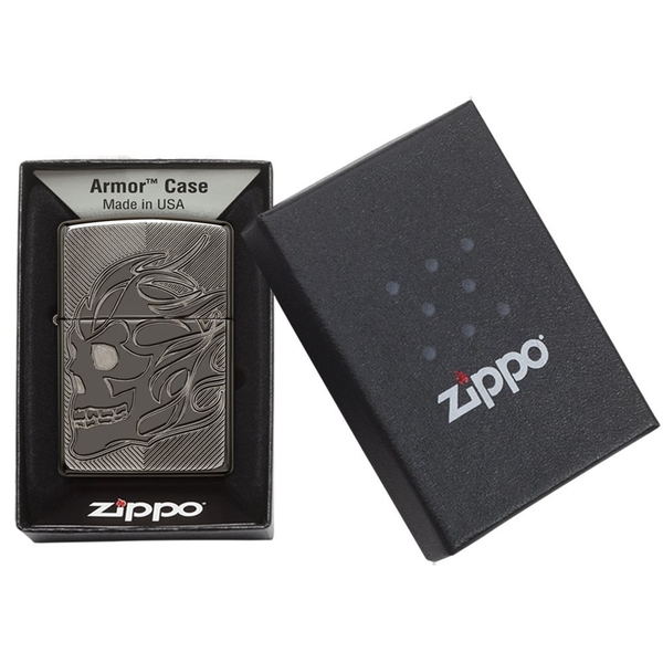 Zippo Unisex Armor Skull Windproof Pocket Lighter Black Ice