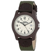 Timex Expedition Men's Quartz Watch with Off-White Dial Analogue Display and Green Textile Strap T491014E