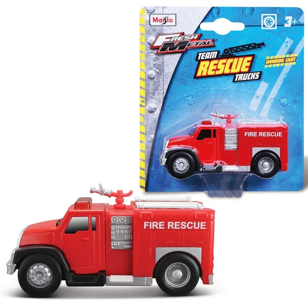 Fresh Metal 9.2CM Rescue Fire Trucks With Lights Toy