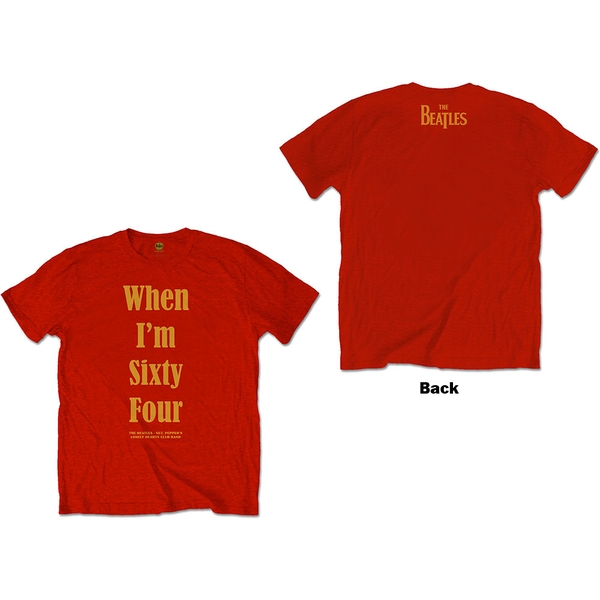 The Beatles - When I'm Sixty Four Unisex X-Large T-Shirt - Red