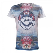 Nintendo Super Mario Bros. Tropical Mario All-Over Sublimation Large T-Shirt - Multicolour