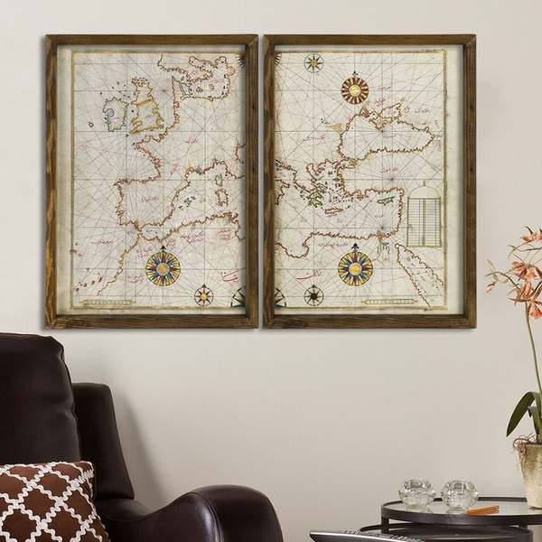 Map083 Multicolor Decorative Framed MDF Painting