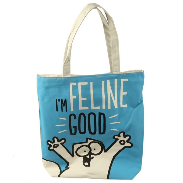 Simon's Cat I'm Feline Fine Handy Cotton Zip Up Shopping Bag