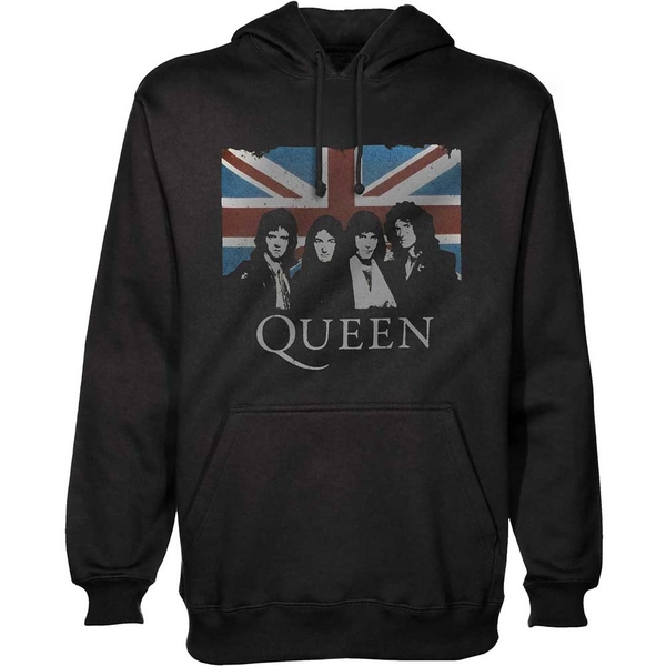 Queen - Vintage Union Jack Unisex XX-Large Pullover Hoodie - Black