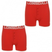 Lonsdale 2 Pack Mens Trunk Boxer Shorts Bright Red Large