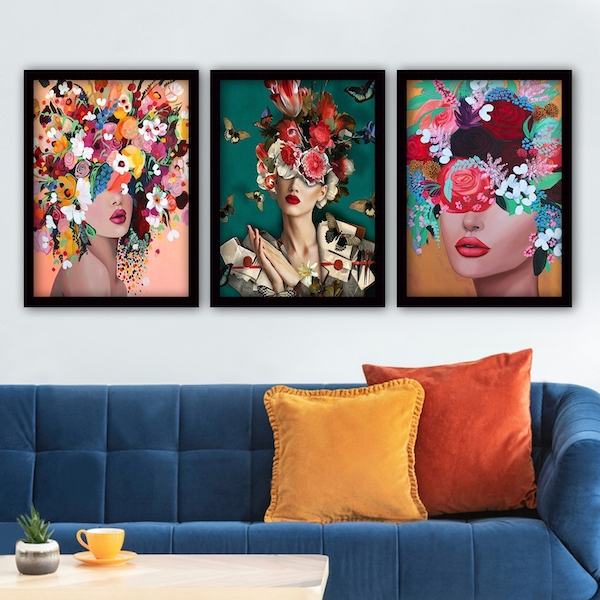 3SC162 Multicolor Decorative Framed Painting (3 Pieces)