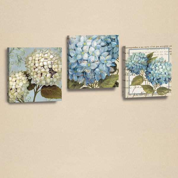 AHM025 White Blue Green Decorative PU Leather Painting (3 Pieces)