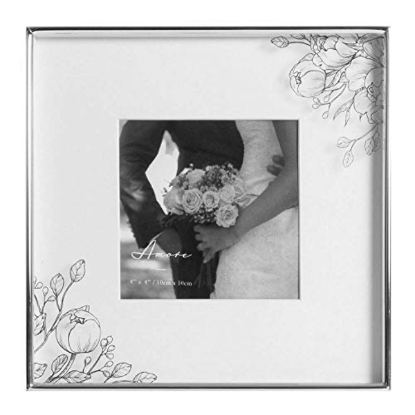 """4"""" x 4"""" - AMORE BY JULIANA? Silver Plated Floral Photo Frame"""