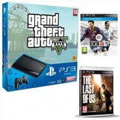 500GB Super Slim Console with Grand Theft Auto V + FIFA 14 Game + Last Of Us Game PS3