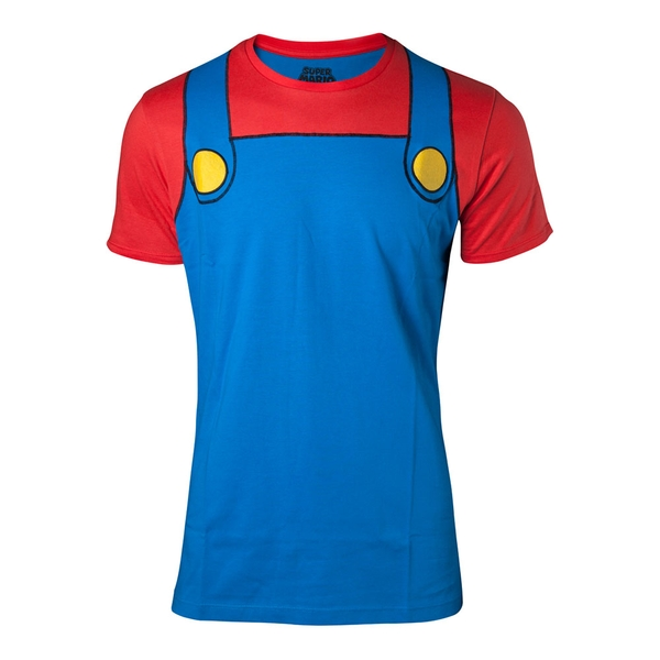 Nintendo - Mario Novelty Cosplay Men's Large T-Shirt - Multi-Colour