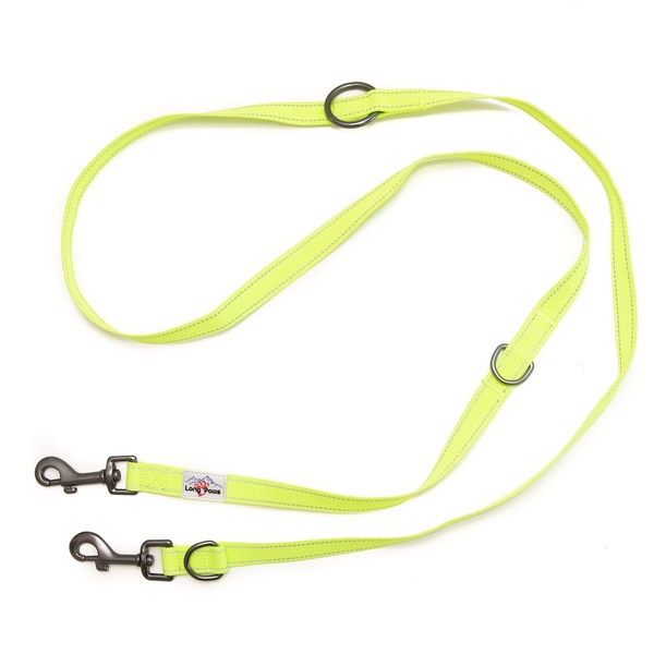 Long Paws Urban Trek Reflective Webbing Training Leash Medium Neon Yellow