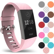 YouSave Silicone Strap - Large - Blush Pink compatible with Fitbit Charge 3