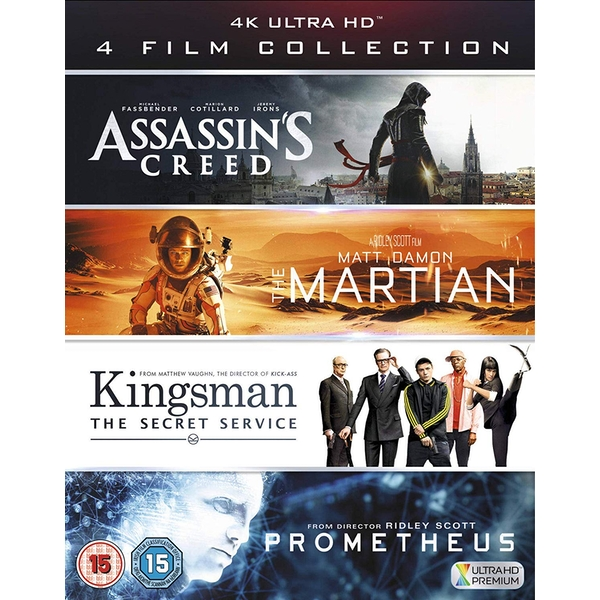 4KUHD Film Collection (Assassin's Creed, The Martian, Kingsman & Prometheus) Blu-ray