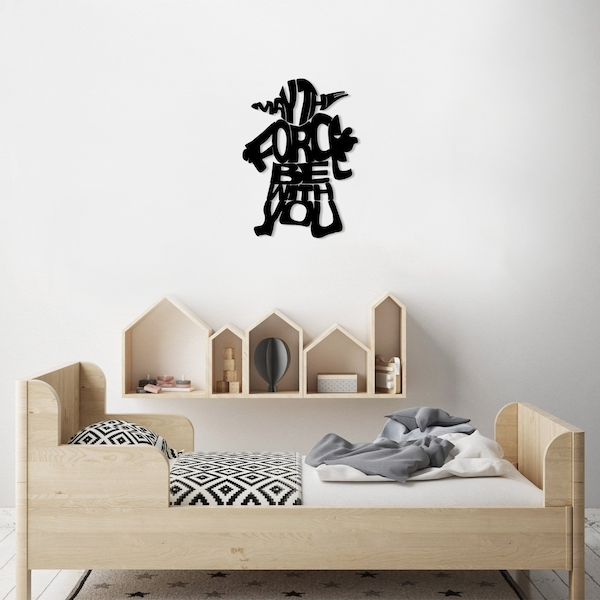 May The Force Be With You 1 Black Decorative Wooden Wall Accessory