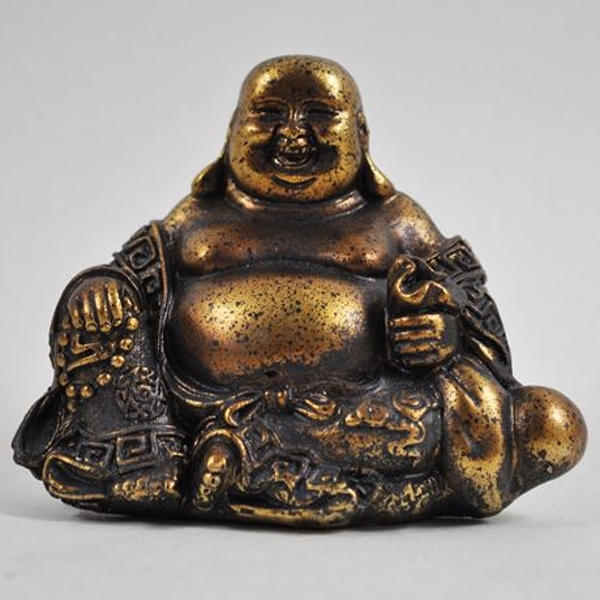 Antique Gold Small Laughing Buddha Resin Ornament 8cm