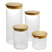 Glass Storage Jars with Bamboo Lids - Set of 4 | M&W