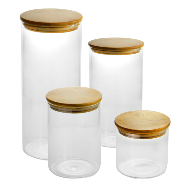 Set of 4 Glass Storage Jars with Bamboo Lids | M&W