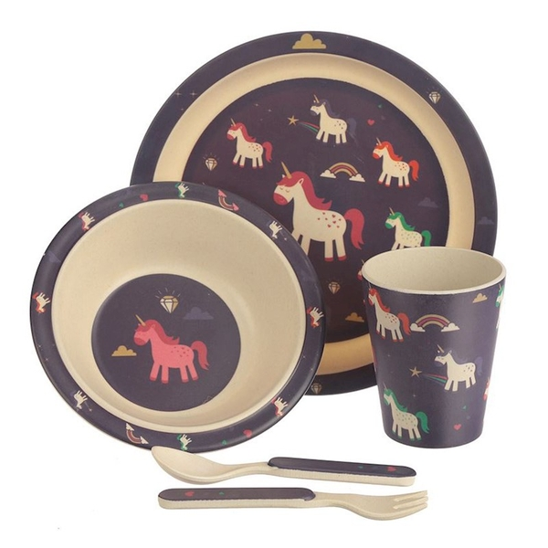 Bambootique Eco Friendly Unicorn Design Kids Dinner Set