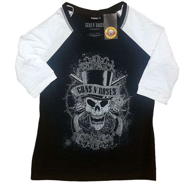 Guns N' Roses - Faded Skull Ladies XXXX-Large T-Shirt - Black,White