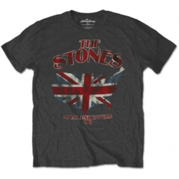 Rolling Stones Union Jack US Map Mens Charcoal TS: Large