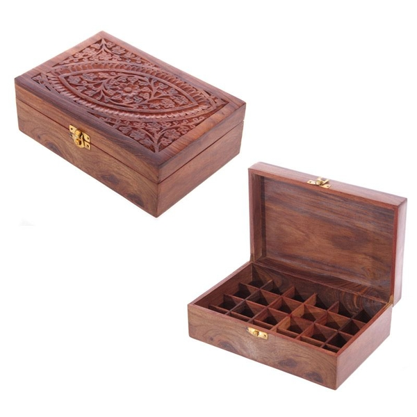 Sheesham Wood Carved Compartment Box Large