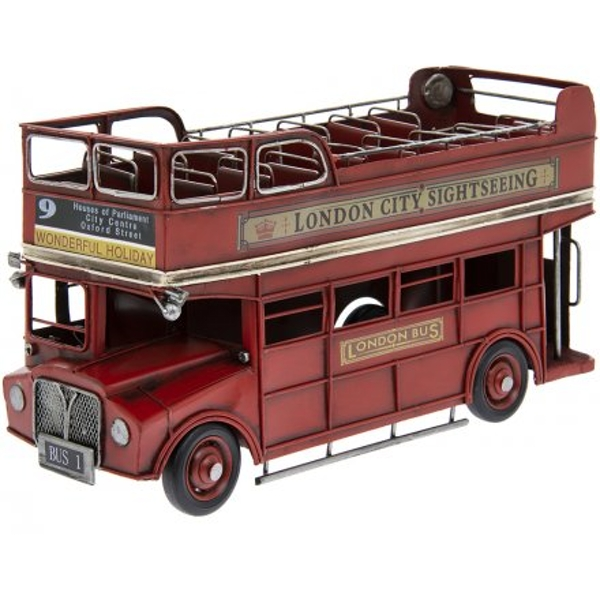 Rustic Red Topless London Bus 32cm