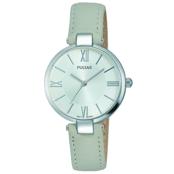 Pulsar PH8245X1 Ladies Grey Leather Strap Silver Dial 50M Watch