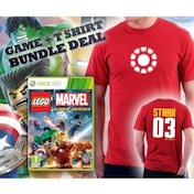 Lego Marvel Super Heroes Game + Iron Man Arc Reactor Double Sided Red T-Shirt Medium Xbox 360