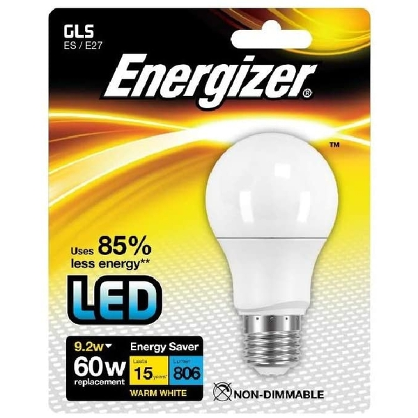 Energizer E27 Warm White Blister Pack Gls 8.2w 806lm