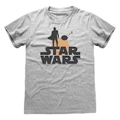 Star Wars - The Mandalorian Silhouette Unisex Large T-Shirt - Grey