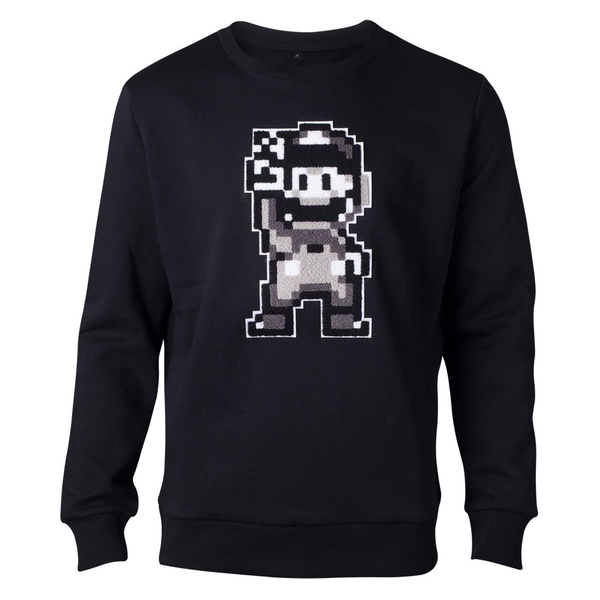 Nintendo - Chenille 16-Bit Mario Peace Men's Medium Sweater - Black