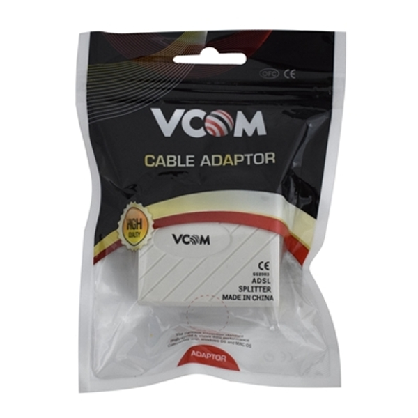 VCOM RJ11 (F) to 2 x RJ11 (F + F) White Retail Packaged ADSL Micro Filter Splitter Adapter - Image 1