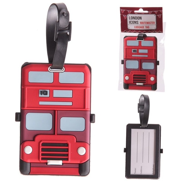 Fun Novelty London Bus Design PVC (Pack Of 6) Luggage Tag