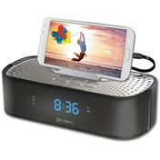 Groov-e TimeCurve Alarm Clock Radio with USB Charging Station Black UK Plug