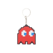 PAC-MAN Blinky Pixelated Character Rubber Keychain - Red