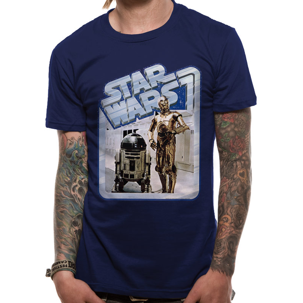 Star Wars - Droids Retro Badge Men's XX-Large T-Shirt - Blue
