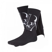 Star Wars Adult Male Darth Vader 3D Cape Crew Socks, 39/42, Black