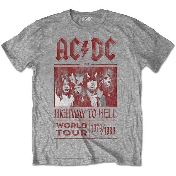 AC/DC - Highway to Hell World Tour 1979/1980 Unisex Small T-Shirt - Grey