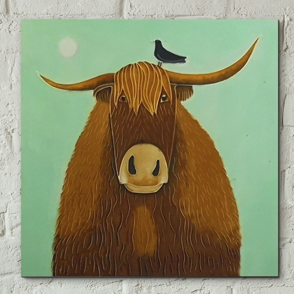 Tile 8x8 Broon Coo By Ailsa Black Wall Art